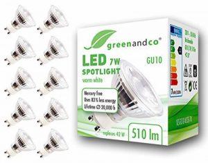 10x greenandco® Spot à LED GU10 7W équivalent 40-50W, 510lm 3000K blanc chaud SMD LED 50° 230V AC, verre, non graduable de la marque greenandco image 0 produit