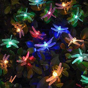 [20 LED 8 modes]Fée Guirlande lumineuse solaire Extérieur Imperméable Motif libellule LED pour jardin, patio, jardin, clôture, arbre de Noël, les fêtes, mariage, décoration(Multicolore) de la marque MagicLux Tech image 0 produit