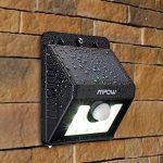 [4 PACK] Mpow Lampe Solaire LED Etanche Faro Lumiere 8 LED avec paneau solaire / Luminaire exterieur Sans Fil avec Détecteur de Mouvement/ Eclairage exterieur Solaire pour Jardin, Patio, Pont, Allée et Garage comme applique exterieurcurité / Lampe Solaire image 5 produit