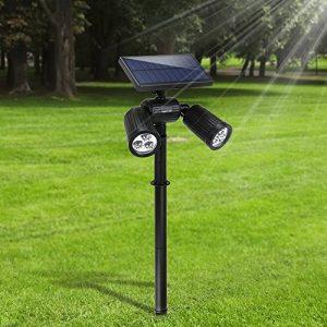 6 LED Lampe Solaire Lumière Solaire Projecteur Lumière de Sécurité Etanche Spot Solaire Extérieur 2 en 1 Lampe Murale Eclairage en Terre Réglable avec Panneau Solaire 350 Lumens pour Jardin Spots Encastrés de Sol d'Arbre Allée Cour Sentier Terrasse Arrièr image 0 produit