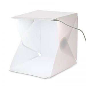 Amzdeal Kit Photo Studio avec lumière LED, Tente cube pliable 40×40×40cm avec 2 Fonds(Blanc et Noir) de la marque Amzdeal image 0 produit