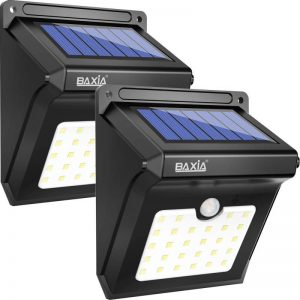 BAXiA 28 LED Lumière Solaire, Ampoule de sécurité avec Détecteur de Mouvement solaire sans fil pour l'extérieur, mur extérieur, jardin, terrasse, cour(Lot de 2) de la marque BAXiA image 0 produit