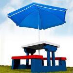 Ensemble jardin pour enfant table et bancs avec parasol Salon de balcon Exterieur Plastique de la marque DEUBA GmbH & Co. KG. image 1 produit