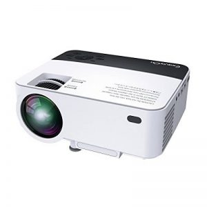 ExquizOn T5 - Vidéo Projecteur LCD LED 1800 Lumens Mini Rétroprojecteur avec Capteur Infrarouge Double Supporte HD 1080P et Multi Écran pour Smartphone Tablette Soirée Cinéma Jeu Vidéo Blanc de la marque ExquizOn image 0 produit