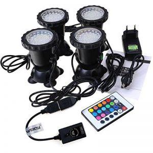GEEDIAR 36 LED Spot Led Submersible Ampoule / Lampe LED Etanche 1 set avec 4 Lumineuse LED RGB 36 Colorful Aquarium Spot Light avec 24 Télécommande IR Key (6w+24key) de la marque GEEDIAR image 0 produit