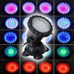 GEEDIAR 36 LED Spot Led Submersible Ampoule / Lampe LED Etanche 1 set avec 4 Lumineuse LED RGB 36 Colorful Aquarium Spot Light avec 24 Télécommande IR Key (6w+24key) de la marque GEEDIAR image 2 produit