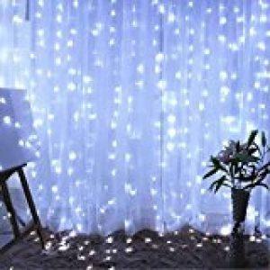 Glighone Guirlande Rideau Lumineux 600 LEDs Intérieur Extérieur Etoiles Lumières Féeriques Eclairage Décoration pour Fenêtre Fête Noël Soirée Mariage Jardin Parasol Blanc Froid 8 Modes 6Mx3M de la marque Glighone image 0 produit