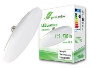 greenandco® Ampoule à LED OVNI E27 24W équivalent 130W 2080lm 3000K blanc chaud 180° 230V AC, aucun scintillement, non graduable de la marque greenandco image 0 produit