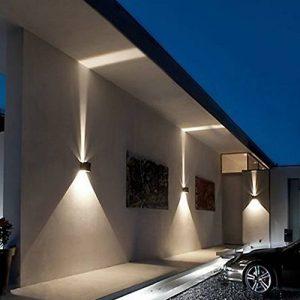 inhd Boîte applique murale extérieur LED Effet Lampe murale Lampe LED Lampe Lumière Filtre avec 2 LED Protection IP54 Adjustable, noir, Epistar LED 230.00 voltsV Paquet de 2 de la marque INHDBOX image 0 produit