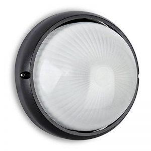 MiniSun Applique Murale (ou comme plafonnier) Moderne, hublot, Ronde E27. Lanterne pour l'extérieur. Aluminium Noir et Diffuseur En Verre. Sécurité extérieure IP54 de la marque MiniSun image 0 produit
