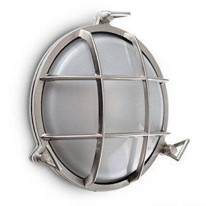 MiniSun - Hublot Nautique Classique. Applique Murale (ou plafonnier) Ronde avec Une Support Grille en Aspect Aluminium Brossé. Diffuseur en Verre Givré - IP66 Applique pour Extérieure ou pour Intérieure de la marque MiniSun image 0 produit