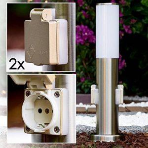 """Plot lumineux """"Caserta"""" avec deux prises électriques IP 44 de la marque hofstein image 0 produit"""