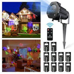 Projecteur LED Noël Exterieur, CAMTOA IP65 Etanche, Télécommande, 10 Motifs de lentilles changeants, Multicolore lumière, Lamp d'Ambiance, Lamp Décorative Eclairage, Projecteur LED du Ciel Etoilé Dyna de la marque CAMTOA image 0 produit