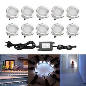 QACA LED pour Terrasse Mini Spot Extérieur Lumiere Eclairage Enterré Plafonnier, Lampe Extérieur Déco Pour Chemin Bassin Piscine DC 12V Etanche IP67 (Pack 10, Blanc froid) de la marque QACA image 0 produit