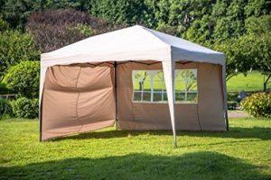 Sekey 3x3m Tonnelle, Tente Fête pliante/ Rétractable Garden Party/ tente réception/ pavillon, Taupe, modèle ISCHIA, avec deux parois latérales de la marque Sekey image 1 produit